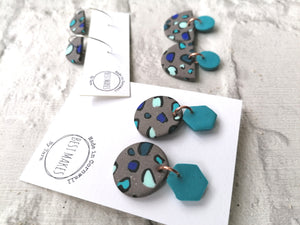 Blue and grey leopard dangles