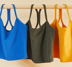 Hanging flats of our new crop tank colors
