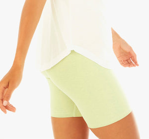 Cropped image of yellow biker shorts