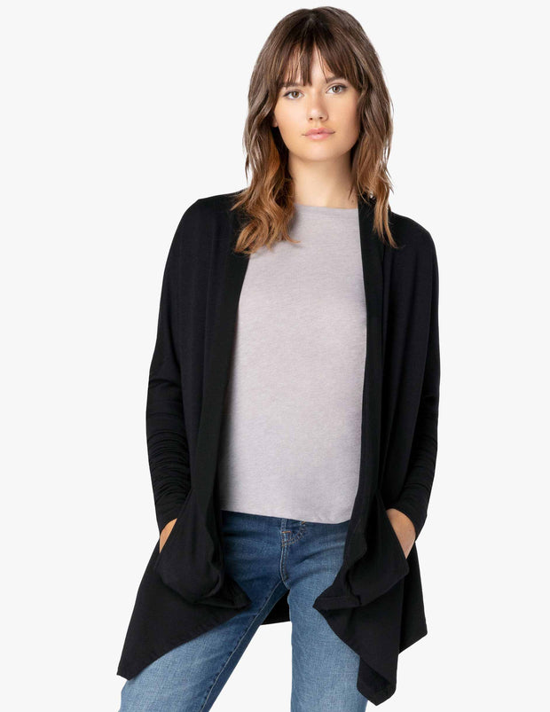 Ribbed Draped Cardigan