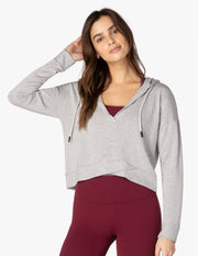 Talk It Overlap Cropped Hoodie