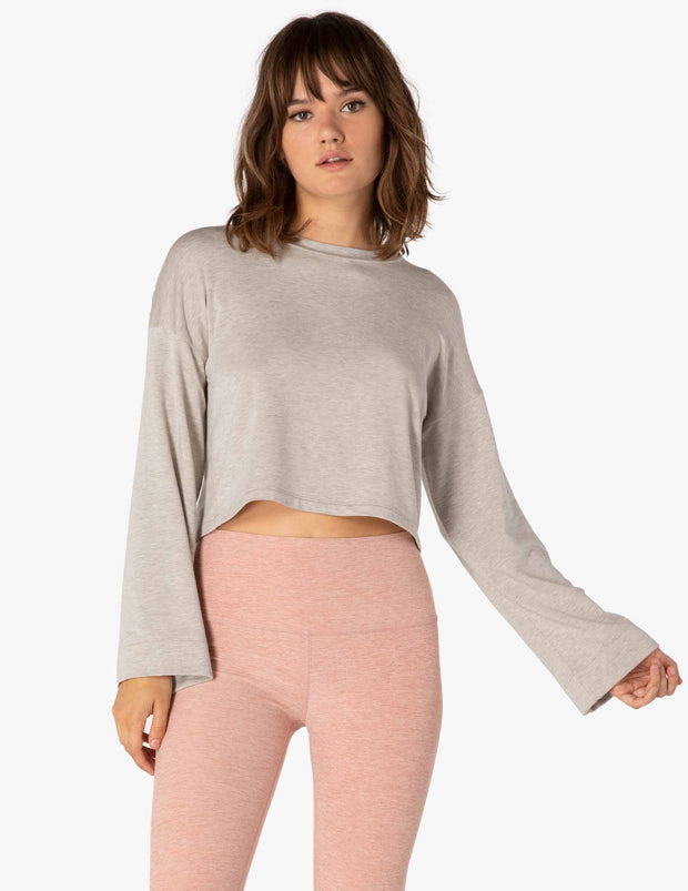 Cozy Fleece Bell Sleeve Cropped Pullover