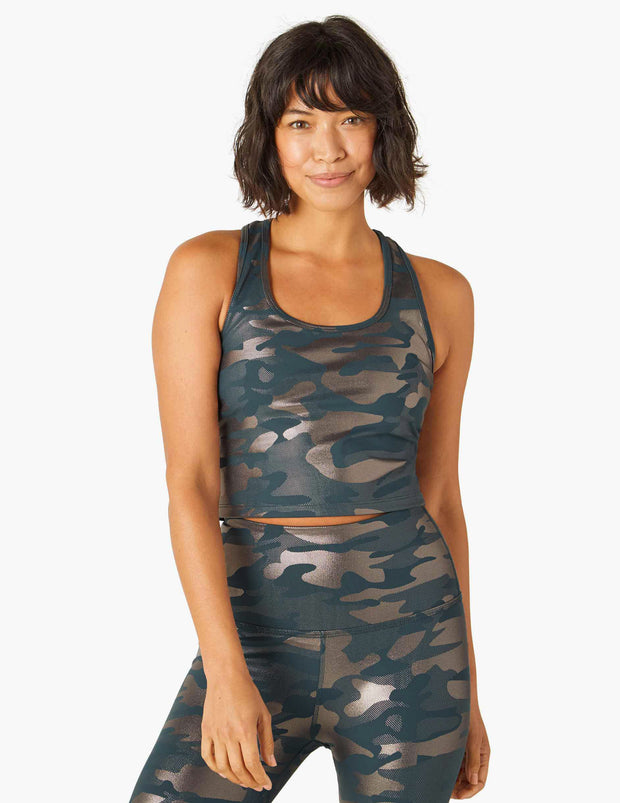 First Class Shiny Camo Cropped Tank