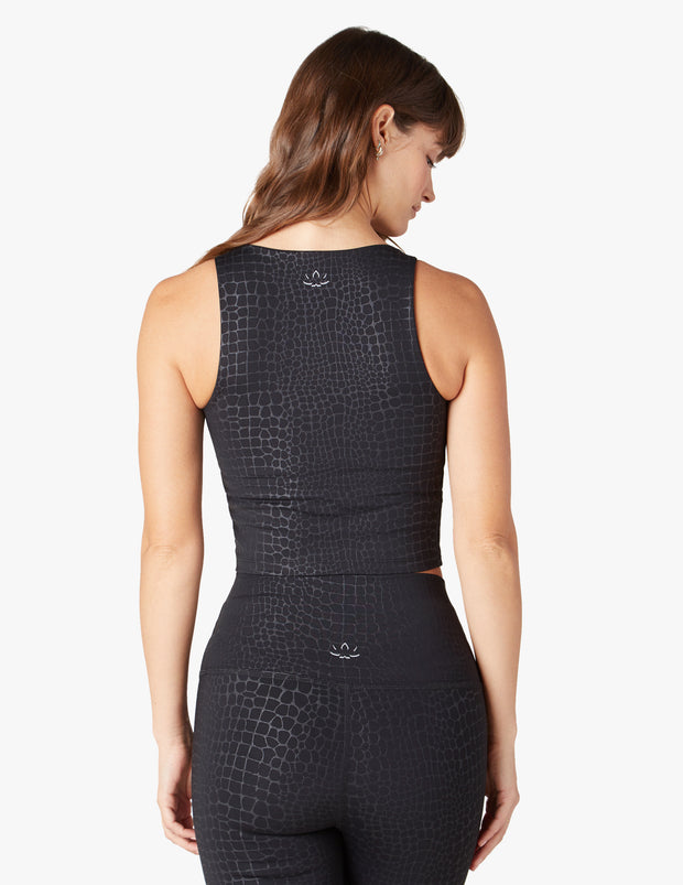 Embossed Croc Square Neck Cropped Tank