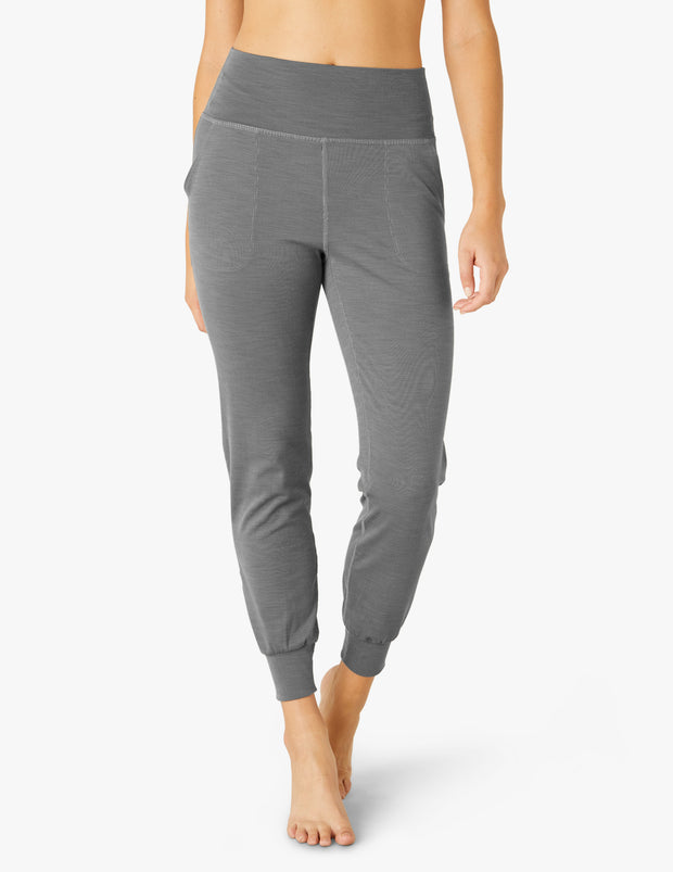 Heather Rib Fitted Midi Jogger