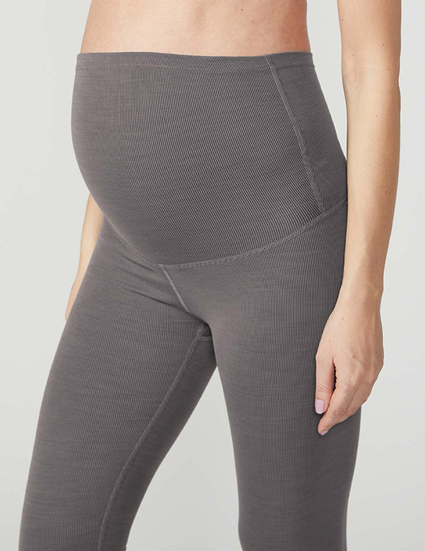 Heather Rib Maternity Midi Legging