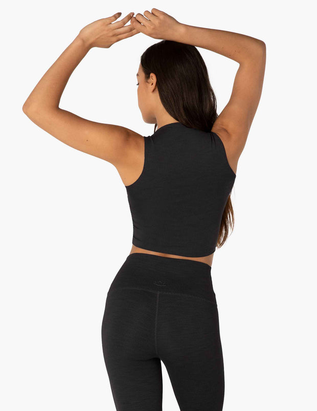 Heather Rib Square Neck Cropped Tank