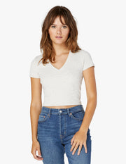 Heather Rib Short Sleeve Cropped Tee