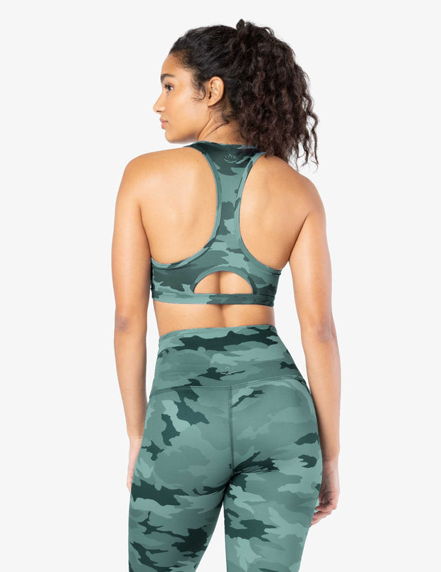 Lux Hunter Green Camo Work It Out Bra