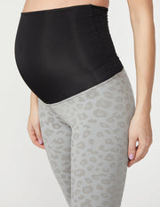 Leopard Jacquard High Waisted Maternity Midi Legging