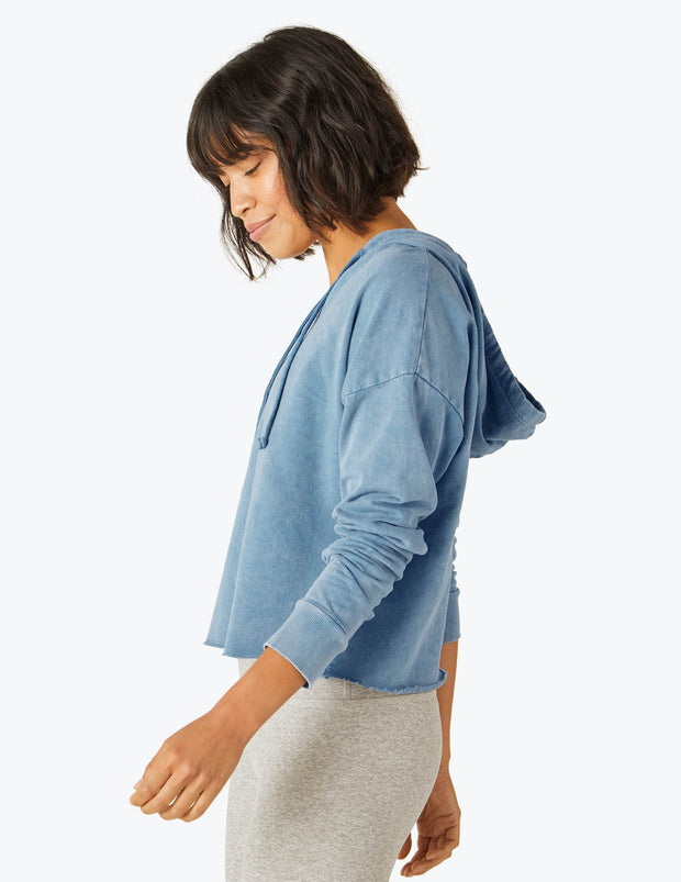 Hey Chambray Cropped Hoodie