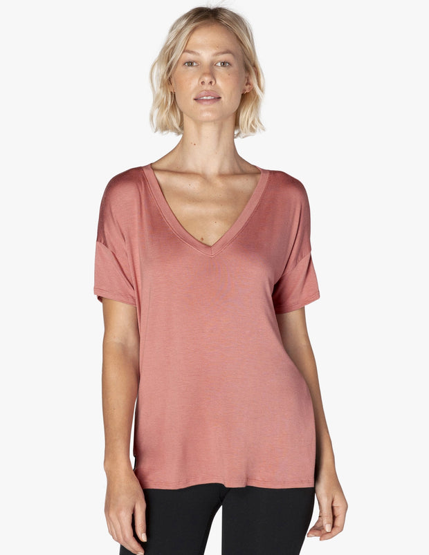 Side Splits V-Neck Tee