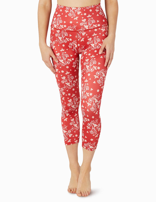 Lux Batik Blooms Walk And Talk High Waisted Capri Legging