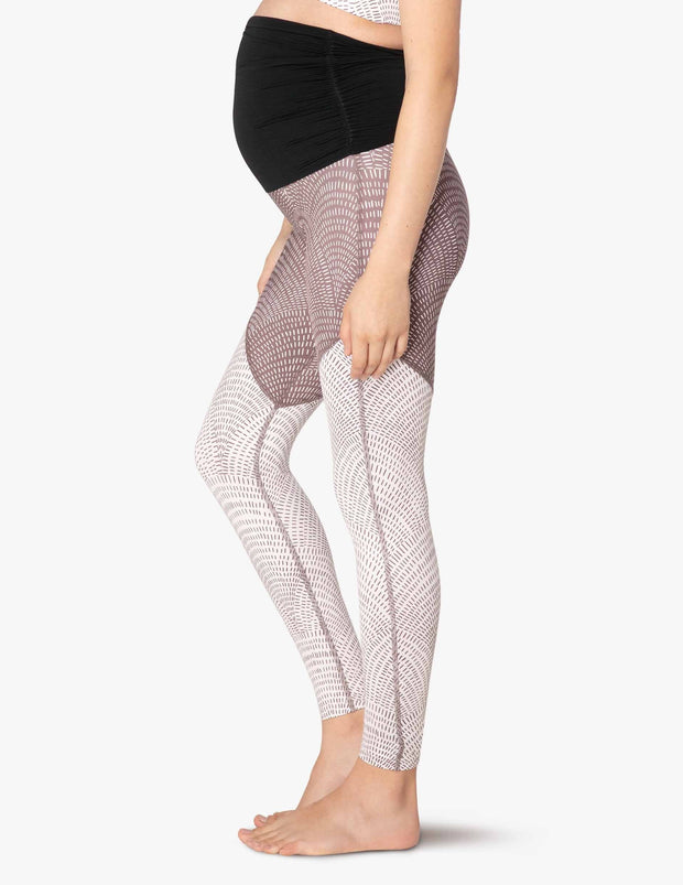 Maternity Lux Etched Fans High Waisted Angled Midi Legging