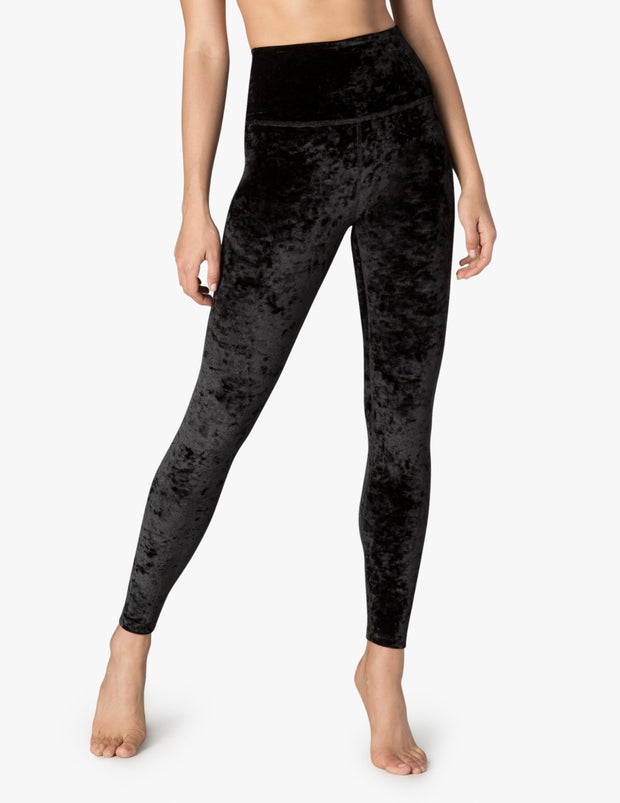 Crushed Velvet High Waisted Long Legging