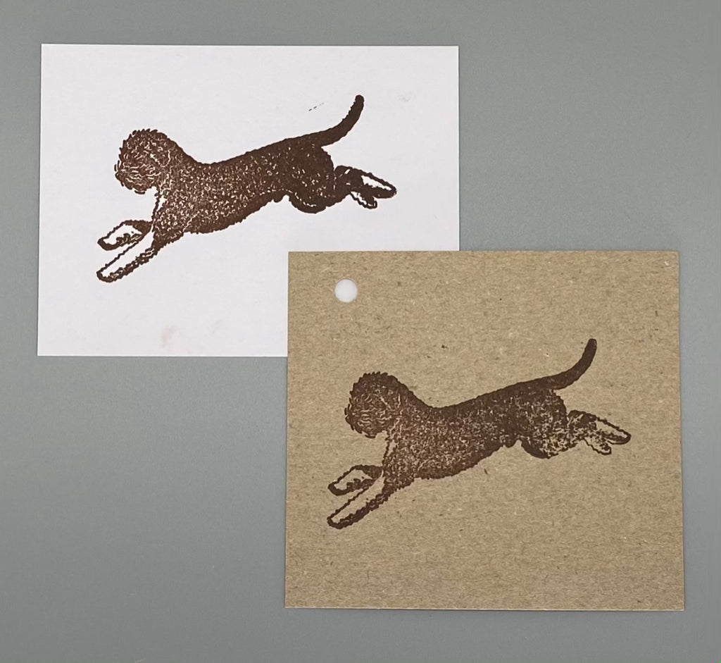 Leaping Lagotto Romagnolo Rubber Stamp