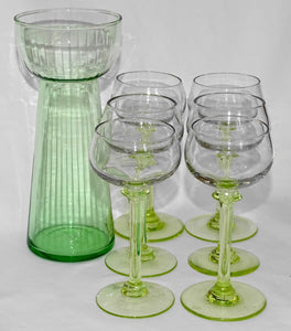Glasses set from the early 1900's in perfect condition, with matching carafe - WineStuff.net - WineStuff.net - -