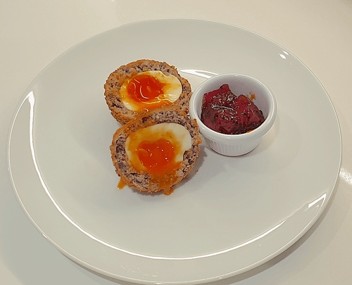 Haggis Scotch Egg with Tomato & Red Pepper Chutney - WineStuff.net - WineStuff.net - -