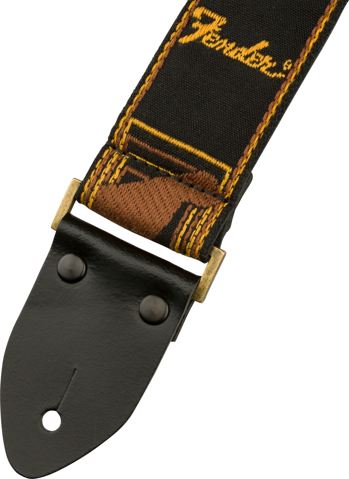 FENDER LEGACY MONOGRAM STRAP, BLACK/YELLOW/BROWN