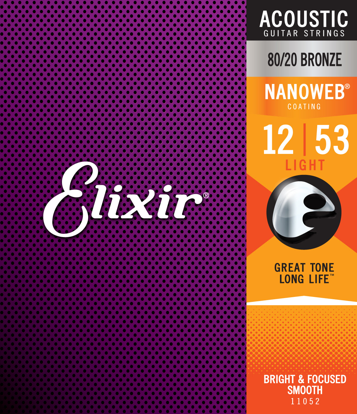 Elixir Strings Nanoweb 80/20 Bronze Acoustic Guitar Strings -.012-.053 Light