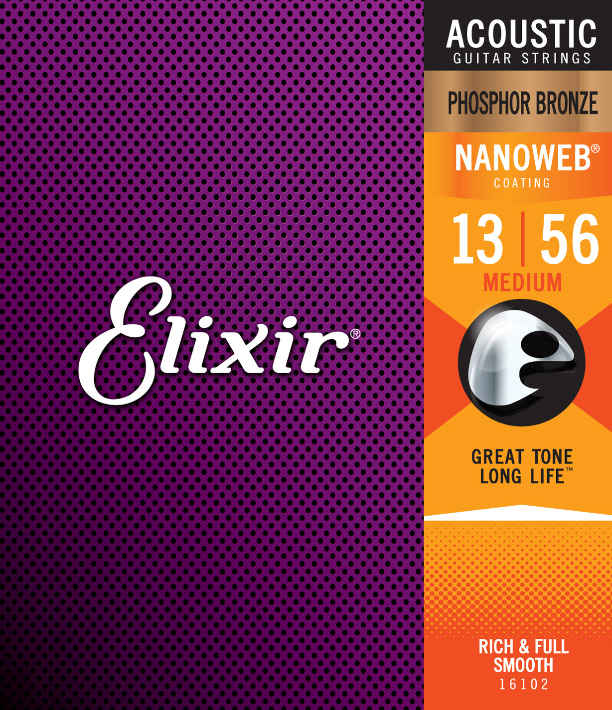 Elixir Strings Nanoweb Phosphor Bronze Acoustic Guitar Strings -.013-.056 Medium