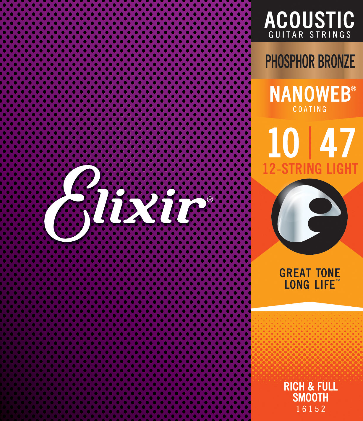 Elixir Strings Nanoweb Phosphor Bronze Acoustic Guitar Strings -.010-.047 & .010-.027 12-String Light