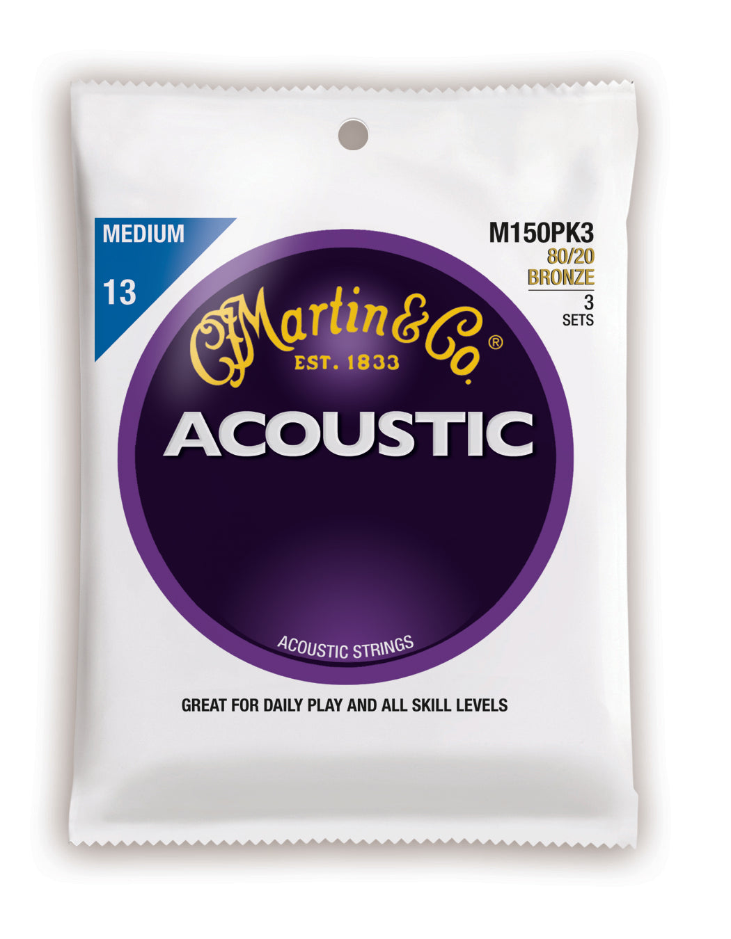 Martin Acoustic 80/20 Bronze Guitar Strings -.013-.056 Medium - 3 Pack