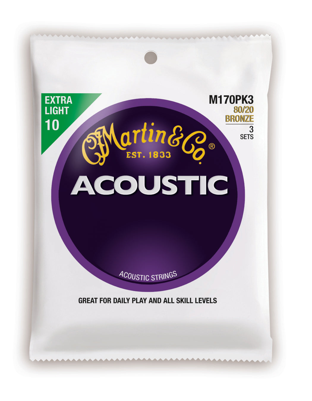 Martin Acoustic 80/20 Bronze Guitar Strings -.010-.047 Extra Light - 3 Pack