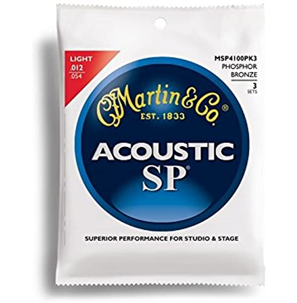 Martin Acoustic SP Phosphor Bronze Guitar Strings -.012-.054 Light - 3 Pack