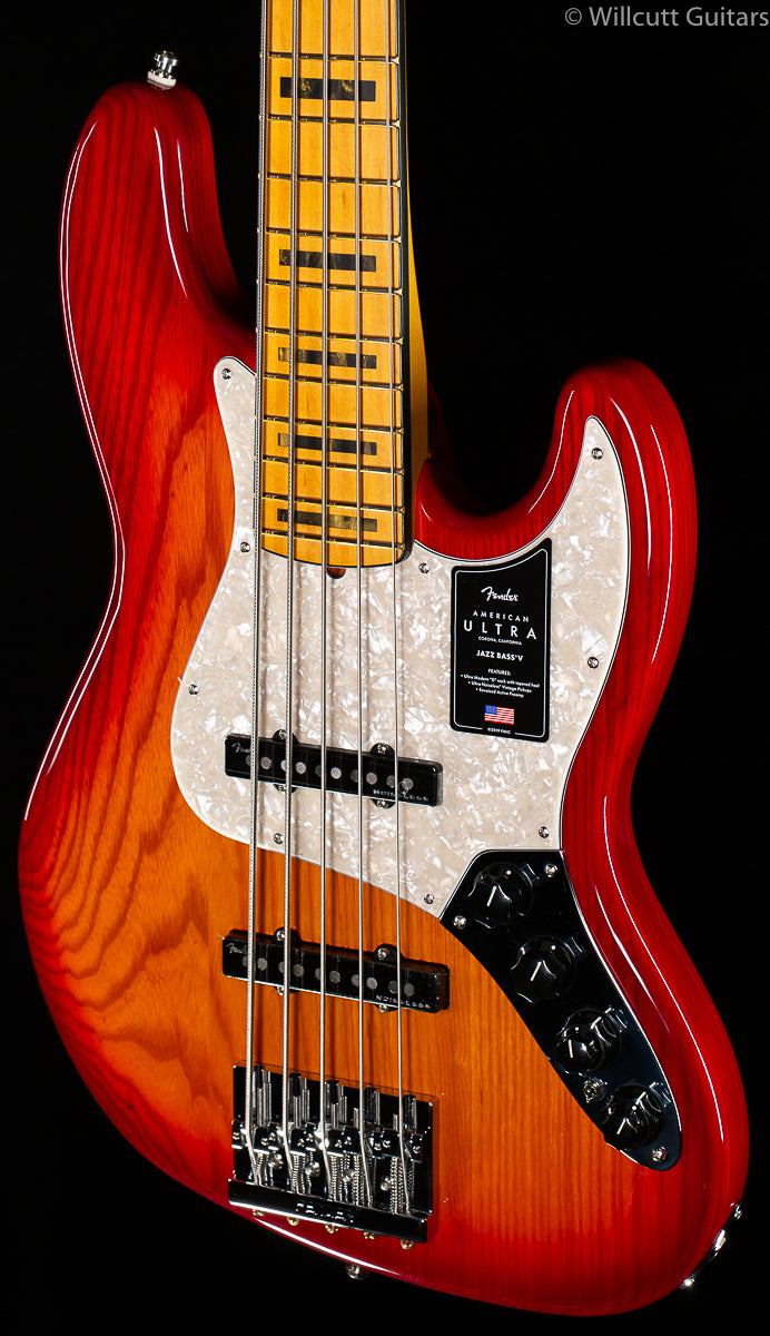 Fender American Ultra Jazz Bass® V, Maple Fingerboard, Plasma Red Burst (853)