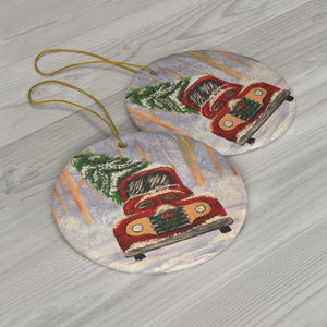 Christmas Truck Ceramic Ornaments