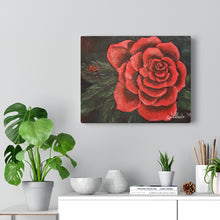 Load image into Gallery viewer, Red Rose With Ladybug Print Canvas Gallery Wraps