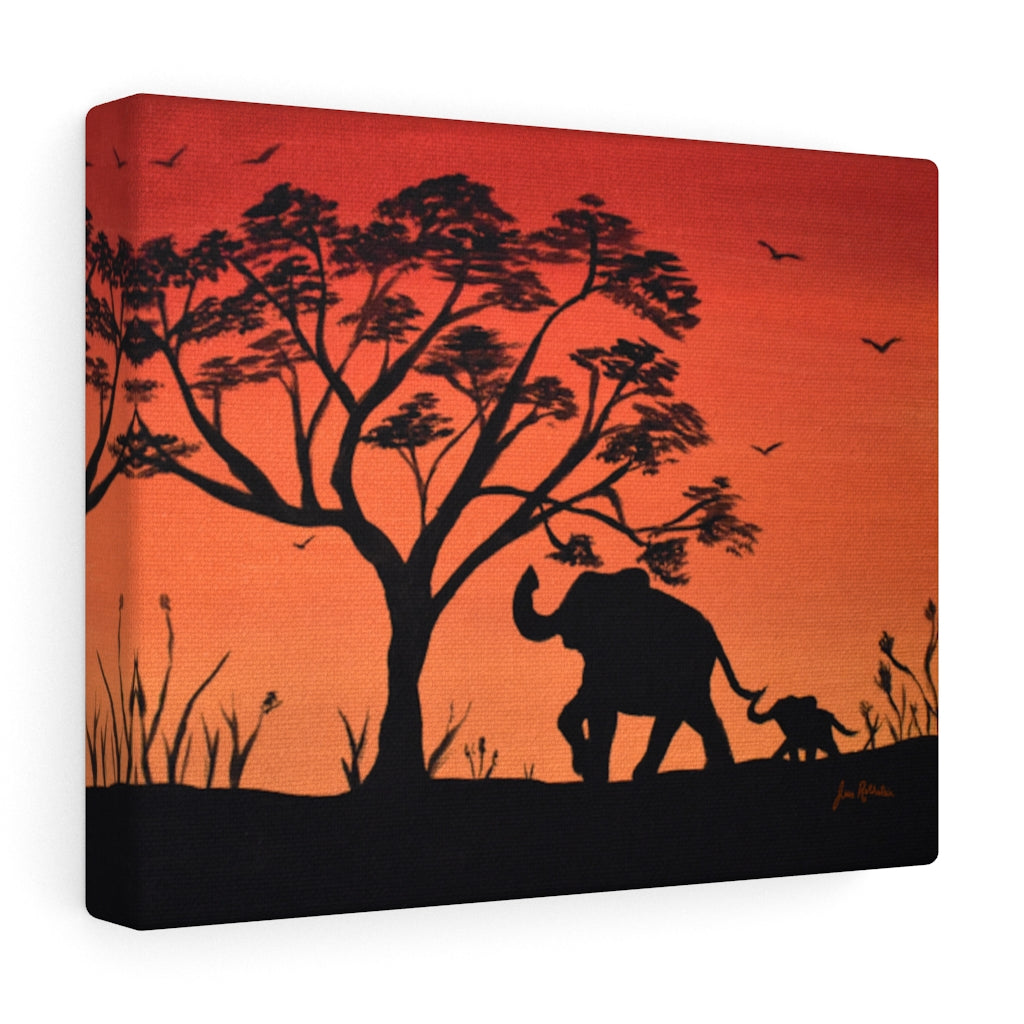 Elephant Silhouette Canvas Gallery Wraps Print