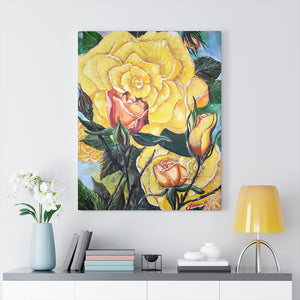 Yellow Rose Acrylic Painting Print Canvas Gallery Wraps