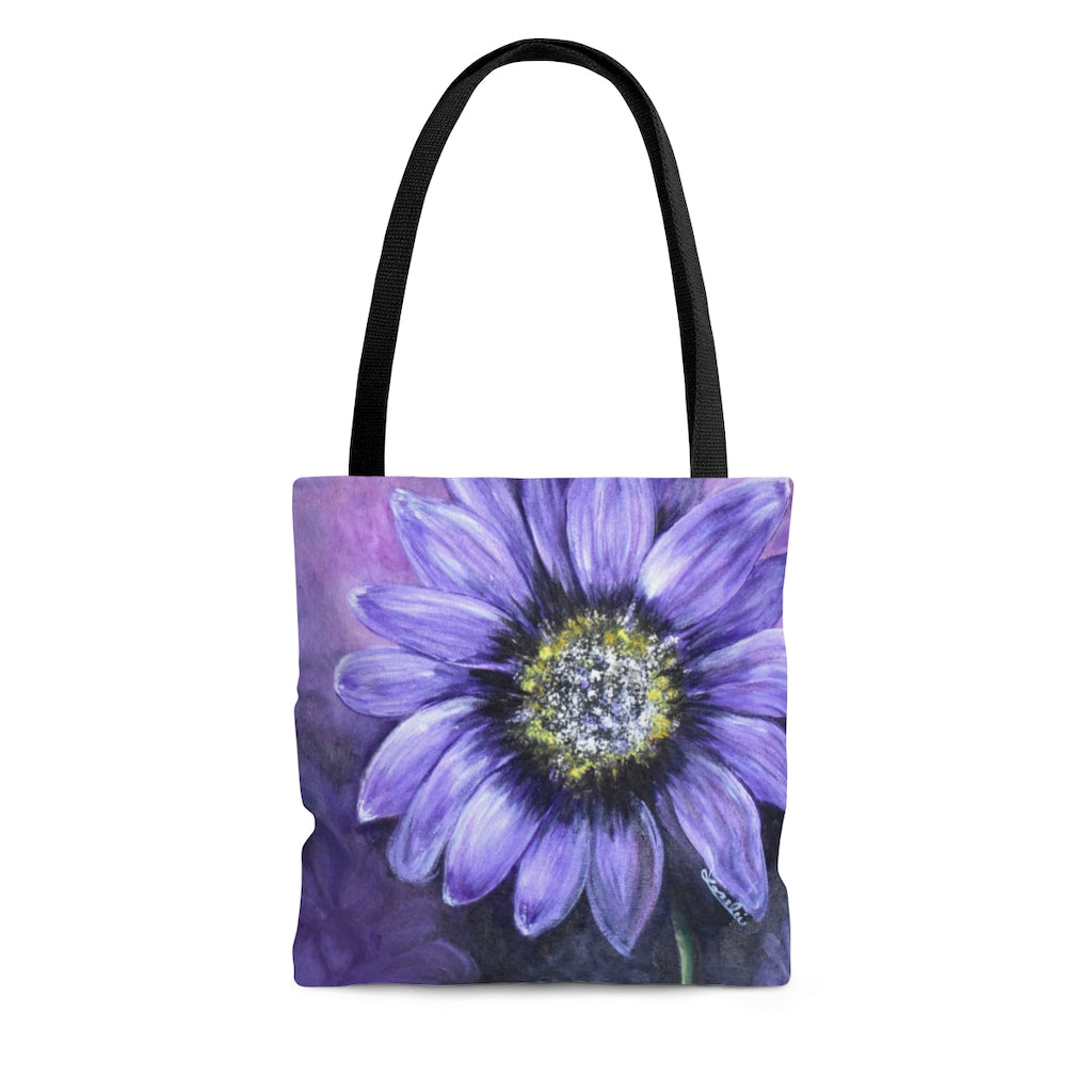 Purple Flower AOP Tote Bag