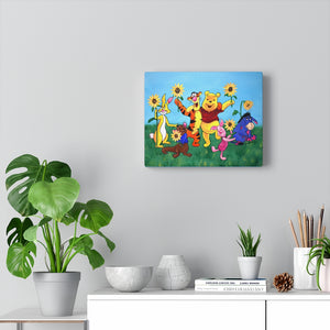 Winnie the Pooh Sunflowers Canvas Gallery Wraps