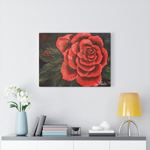 Red Rose With Ladybug Print Canvas Gallery Wraps