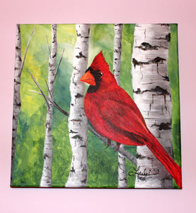 Cardinal In the Birch Trees Acrylic Painting