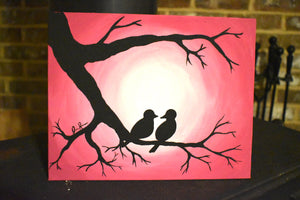 Pink Bird Silhouette Canvas Painting