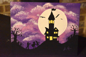 Halloween Haunted House Acrylic Canvas Painting