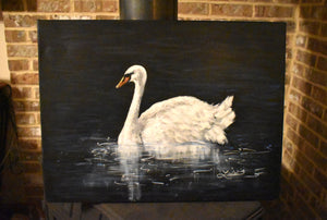 """Graceful Swan"" Acrylic Painting"