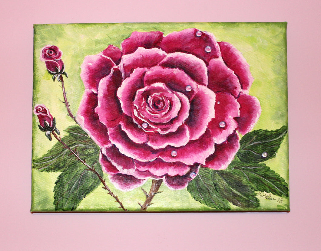 Pink Rose Acrylic Painting