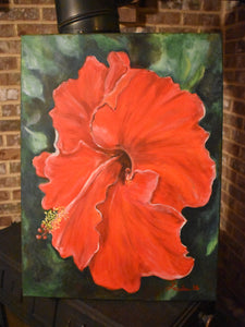 """Red Hibiscus"" Acrylic Canvas Painting"