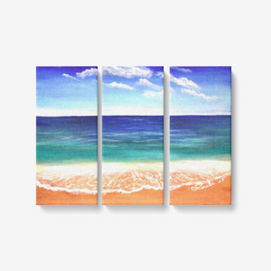 "Ocean Blue 3 Piece Canvas Wall Art for Living Room - Framed Ready to Hang 3x8""x18"""