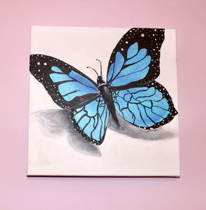 Blue Butterfly Acrylic Painting