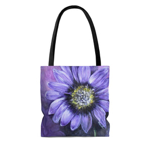 Purple Sunflower AOP Tote Bag