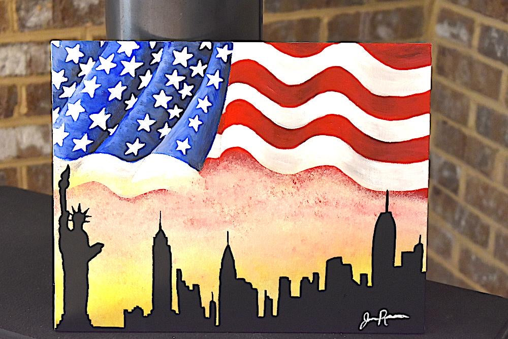 """Together We Stand"" American Flag Acrylic Painting"