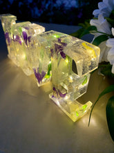 Load image into Gallery viewer, Resin Love Light Up Sign With Purple & Yellow Flowers