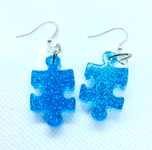 Blue Glitter Puzzle Earrings