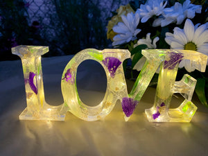 Resin Love Light Up Sign With Purple & Yellow Flowers